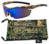 Hornz Brown Forrest Camouflage Polarized Sunglasses for Men Wrap Around Sport Frame & Free Matching Microfiber Pouch – Brown Camo Frame – Blue Lens