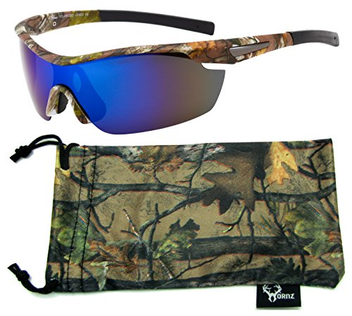 (Hornz Brown Forrest Camouflage Polarized Sunglasses for Men Wrap Around Sport Frame & Free Matching Microfiber Pouch – Brown Camo Frame – Blue)