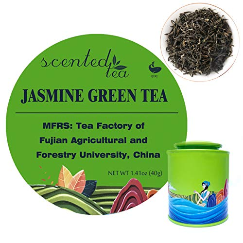 CJXWJ Tradition Jasmine Green Tea Bags, Loose Leaf with Real Jasmine Blossoms (40g/15Bags). Honor Produced by University of FuJian Agricultural&Forestry, The Original Jasmine Tea From Legend Tea Maker