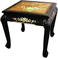 Oriental Furniture Claw Foot End Table - Gold Leaf Birds and Flowers