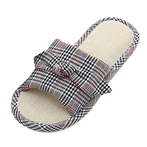 (Vibola Women Sandals,Striped Lattice Home Indoor Anti-Slip Flip Flop Slipper Summer Shoes Gray)
