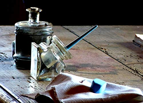 - Home Comforts Canvas Print Spring Chalk Ink Table Fountain Pen Inkwell Vivid Imagery Stretched Canvas 10 x 14