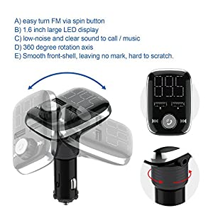 HiGoing Bluetooth FM Transmitter, Wireless Car Radio Adapter Receiver Hands-free Calling, Dual USB Charger with 5 V/3.4 A Output, U-disk/TF Card/AUX MP3 Player Car Kit