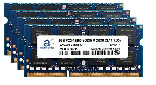 Adamanta 32GB (4x8GB) Laptop Memory Upgrade for HP Zbook 15 G2 Mobile Workstation DDR3L 1600Mhz PC3L-12800 SODIMM 2Rx8 CL11 1.35v Notebook DRAM