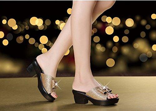 Donna Golden artificiale diamante con estiva slip impermeabile denso Piscina Tacco AWXJX alto Non Stagione Bow Infradito tie apqTwRf