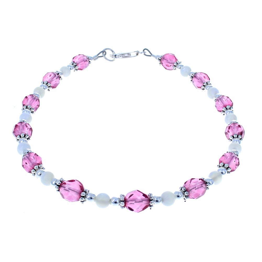 Timeless-Treasures Womens Pink Czech Fire Polished Glass, Mother of Pearl & Sterling Silver Anklet w/Daisies - 12''