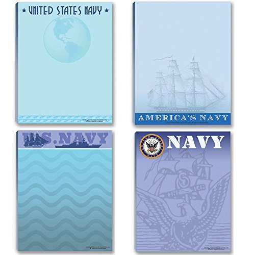 Navy Notepads - 4 Assorted USN Note Pads - Fun United State Navy Notepads - Military - Armed Forces