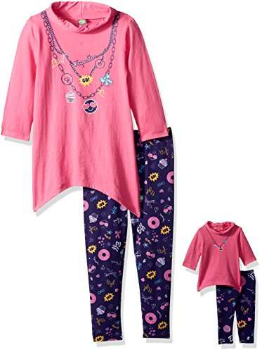 Dollie & Me Big Girls' Cowl Neck Emoji Legging Set and Matching Doll Outfit, Pink/Multi, 7 -
