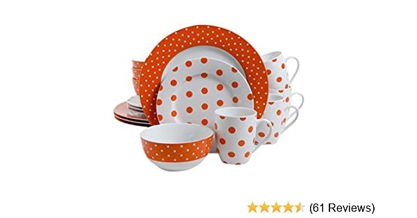 Amazon.com | Isaac Mizrahi Dot Luxe 16-Piece Dinnerware Set Orange Dinnerware Sets  sc 1 st  Amazon.com & Amazon.com | Isaac Mizrahi Dot Luxe 16-Piece Dinnerware Set Orange ...