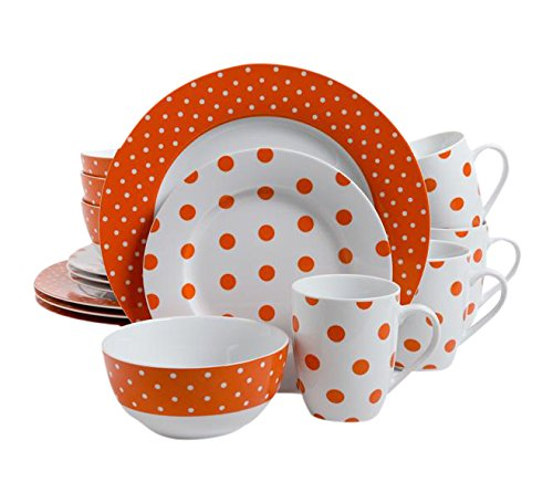 Isaac Mizrahi Dot Luxe 16-Piece Dinnerware Set, Orange - Orange Polka Dot
