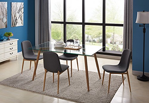 IDS Home Kitchen Dining Table Set for 4 with Extra Think Glass Top and Wooden Look Dining Side Chair Leg with Fabric Cushion -