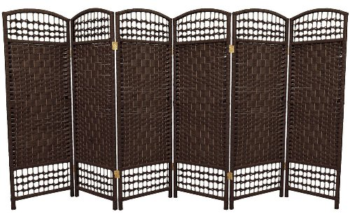 4 ft. Tall Fiber Weave Room Divider - Dark Mocha 6 Panel