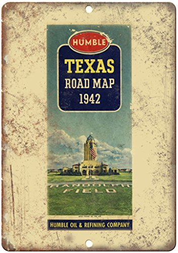 """Humble Oil & Refining Company Road Map 10"""" x 7"""" Reproduction Metal Sign A128"""