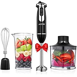Aicok 4-in-1 Immersion Stick Blender 6-Speed Electric Hand Mixer Stainless Steel Set Includes Food Chopper, Whisk, and BPA Free Beaker Attachments