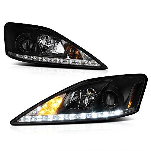 ([For 2006-2013 Lexus IS250 IS350 Sedan Halogen Model] LED Strip Black Housing Projector Headlight Headlamp Assembly, Driver & Passenger Side)
