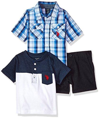 U.S. Polo Assn. - playera de manga corta con cuello redondo estampado para bebés y niños, Classic Multi Plaid, 24 meses