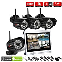 ANRAN Wireless Security System,HD 1080P 4 Channel NVR Kits with 12Inch LCD Monitor,4 IP In/Outdoor 960P Cameras ,Super night vision,Plug and Play,Free APP,No HDD