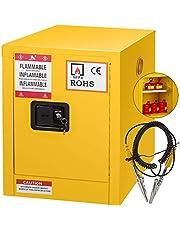 "Mophorn Flammable Cabinet Galvanized Steel 1 Door Safety Cabinet 4 Gallon 17"" Length x 22"" Height x 17"" Width Adjustable Shelf Flammable Storage Cabinet for Flammable Liquids"