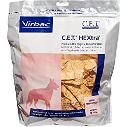 Virbac C.E.T. Hextra Premium Oral Hygiene Chews For Dogs (1 Pouch), Large