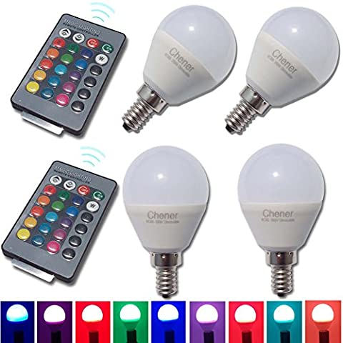 E12 4W RGB Magic LED Light Candelabra Bulb,4 Pack,16 Different Colors Changing Multi-color LED Lamp with IR Remote Control for Home Decoration,Bar,Party,KTV,Holiday,Christmas Mood - Sixteen Lamp Chandelier