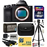 Sony a7 Full-Frame 24.3 MP Mirrorless Interchangeable Digital Lens Camera - Body Only (ILCE7) with Best Value Accessories Bundle Kit includes includes 16GB Class 10 SDHC Memory Card + Replacement (1200mAh) NP-FW50 Battery + Professional 60 Inch Photo/Video Tripod + Hard Shell Carrying Case + High Speed USB Reader/Writer + HDMI Cable + Camera Lens Cleaning Kit + Bonus for Digital Prints