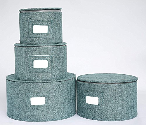 In This Space Teal Hard Shell Round Plates Protector (Set of 4)