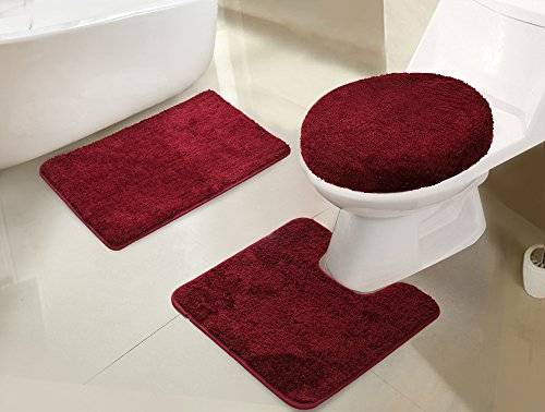 RT Designers Collection Imperial 3-Piece Bath Rug Set, Burgundy ()