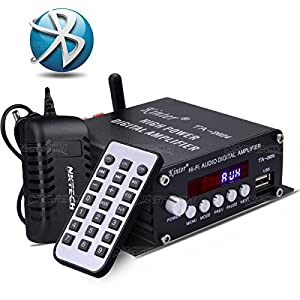 NKTECH DC 12V 3A Power Supply Kinter TA-2024 USB/MP3 AUX Hi-Fi Audio Speaker Car Bluetooth Class-D Digital Amplifier 2x 20W Player With Remote Controller