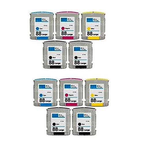 HOTCOLOR (TM) Set of 10 Piece 88XL 88 XL Inkjet Cartridges For use in officejet pro K5400 L7650 L7680 K5400DTN K5400TN K550DTN K5400DN K8600DN printer (10 Piece Cartridge)