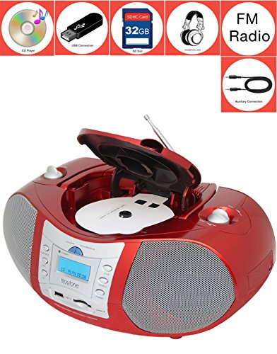 Boytone BT-6R CD Boombox Red Metallic color Edition Portable Music System with CD Player & USB/SD/MMC Slot, Digital FM Radio with Auxiliary-in & Headphone Jack, AC/DC, 110/220