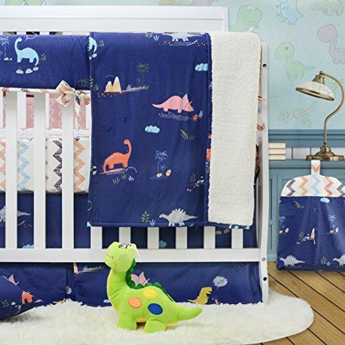 Brandream Dinosaur Crib Bedding Sets for Boys 100% Cotton Chevron Blue Baby Nursery Bedding 4 peices by Brandream