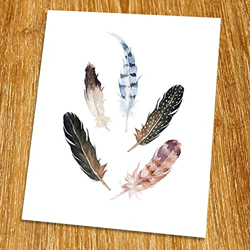 Bird Feather Print (Unframed), Entrance Wall Decor, Watercolor Arrow, Hotel Decor, Tribal Art, Living Room Wall Art, Boho Print, 8x10