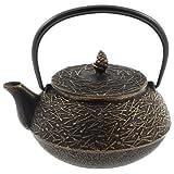 Iwachu 480-169 Iron Teapot Tetsubin, Gold and Black Pine Needle