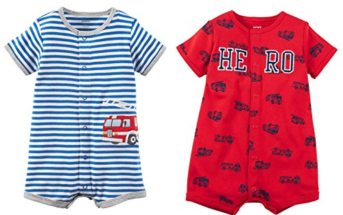 Carter's Baby Boy's 2 Pack Cotton Romper Creeper Set (Newborn, Blue and White Stripe Fire Truck and Red Hero)