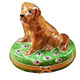 GOLDEN RETRIEVER ON FLOWERS DOG - LIMOGES PORCELAIN FIGURINE BOXES AUTHENTIC IMPORTS