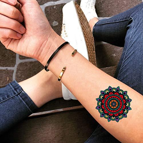 Tatuaje Temporal de Mandala de color (2 Piezas) - www.ohmytat.com ...