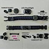 First Responder Strap - Law Enforcement and Rescue Paracord Bracelet with built in flashlight, handcuff key, chem glow light, compass, seatbelt cutter, etc.