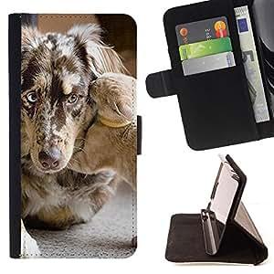 KingStore / Leather Etui en cuir / HTC DESIRE 816 / Mutt Mestizo Gatito Mascotas Perro