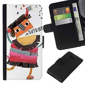 KingStore / Leather Etui en cuir / Samsung ALPHA G850 / Borracho Cartoon Dibujo Bum;