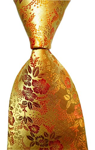 Secdtie Mens Glod Yellow Tie Floral Fashion Woven Silk Paisley Party Necktie B03