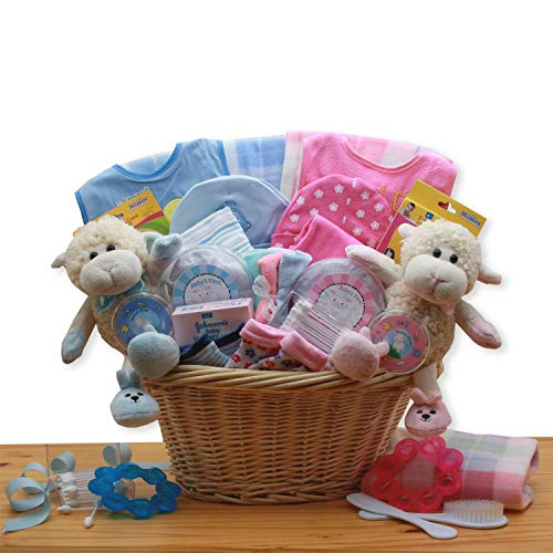 Double Delight Twins New Baby Gift Basket – Pink/Blue