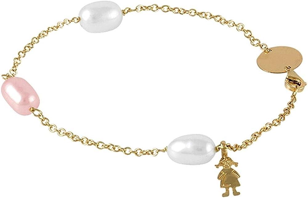 (3養殖真珠ノブ9×10.5ミリメートル)18Kイエローゴールドのブレスレットブレスレットモデルサイズ:18センチメートル。 - カスタマイズ - 料金に含まRECORDING