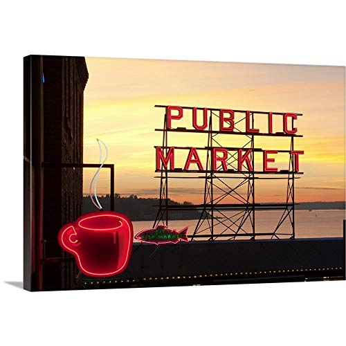 Washington, Seattle, The Public Market Sign at Pike Place Market in The Evening Light Canvas Wa.