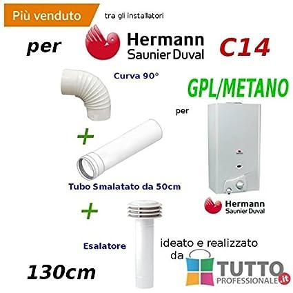 Kit Caperuza calientaplatos esalatore curva Tubo de 130 para calentador de agua 14 l Opalia C14