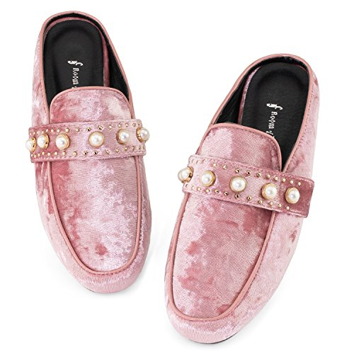 Stacked Velvet Slip Rf Women's Vegan On Mauve Of Backless Mule Fashion Loafer Heel Low Flats Slides Room xqSXSa4