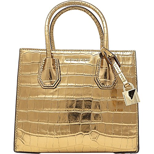 Michael Kors Mercer Croc Embossed Leather Messenger Bag (Gold) -