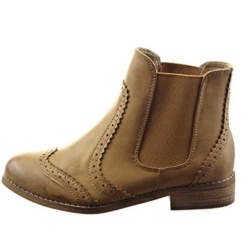 Sopily - Chaussure Mode Bottine Chelsea Boots Montante femmes Perforée Talon bloc 3 CM - Khaki