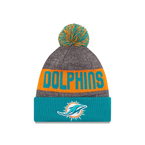 Miami Dolphins New Era 2016 NFL Sideline On Field Sport Knit Hat - Aqua Cuff (Sport Cuffed Knit)