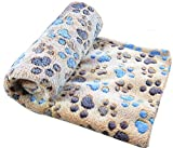 Happy Pet Puppy Blanket Pet Cushion Small Dog Cat Bed Soft Warm Sleep Mat, Pet Dog Cat Puppy Kitten Soft Blanket Doggy Warm Bed Mat Paw Print Cushion (Brown)