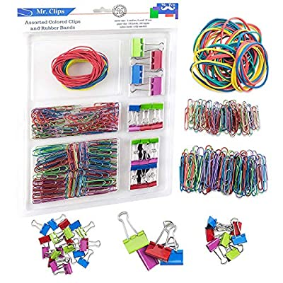 240 Pcs Binder Clips, Paper Clips, Rubber Bands, Paper Clamps Assorted 3 Sizes, Paper Binder Clips Metal Fold Back Clips with Box Assorted Colors